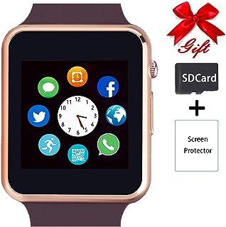 ساعت هوشمند، قفل صفحه نمایش لمسی Smartwatch سازگار با بلوتوث / آندروید / IOS (توابع جزئی) تماس و تصویر دوربین اطلاع رسانی پخش کننده ساعت مچی برای زنان مردان (طلا)
