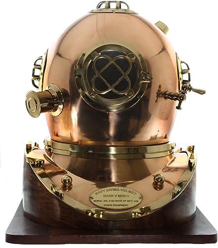 nuevo estilo Full-Talla Replica US Navy Mark V Brass Brass Brass Diving Helmet Wood Base  Ahorre 60% de descuento y envío rápido a todo el mundo.