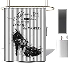 coolteey Shower Curtains with Yellow and Grey Quote,Give A Girl The Right Shoes,and She Can Conquer The World Woman Fashion Art Print,Black White,W72 x L96,Shower Curtain for Girls Bathroom