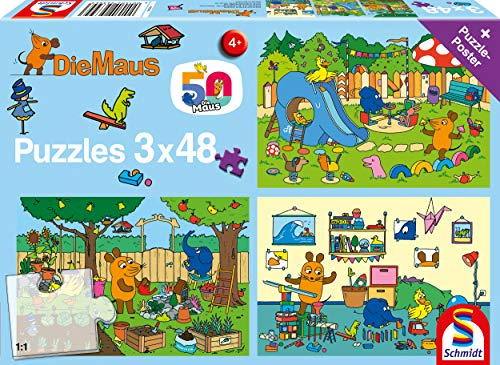 Schmidt Spiele 56394 EIN Tag mit der Maus, 3x48 Teile Kinderpuzzle, bunt