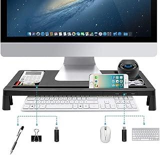 モニター台 机上台 パソコンスタンド キーボードトレイ USBポート付き 収納力抜群 ブラック 【メーカー直営・1年保証付】