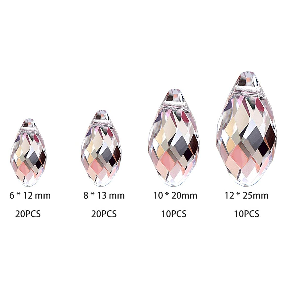 SunAngel Clear Teardrop Glass Beads for Jewelry Crystal Glass Pendants Suncatchers Chandelier Prism Parts Beads for Decoration Party Christmas Wedding(60PCS)