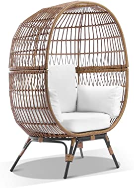Pacific Outdoor Wicker Egg Chair with Legs, Natural Straw Tone Wicker with Cream Cushions - Egg Chairs - Bay Gallery Furnitur