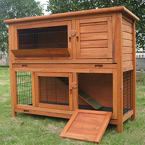 BUNNY BUSINESS 2-Tier Double Decker Rabbit/Guinea Pig Hutch Hutches with Sliding Trays & Ramp