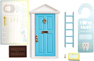 Kids Wooden Blue Miniature Tiny Boy Tooth Fairy Door with Accessories for Magic Childs Bedroom