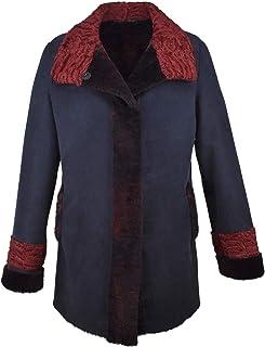 IL Pellettiere Italiano Giacca Cappotto Donna in Caldo Shearling Tg 44 Blu Cobalto Interno Bordeaux