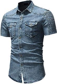 Camisa De Manga Hombre Camisa Corta Para Para Hombre Tamaños Cómodos Camisa Casual De Corte Slim Camisa Vaquera Retro Cami...