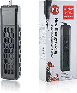 HITOP 50W 100W水槽用ヒーター 温度調節可能 PTCセラミック加熱コンプ サーモ内蔵 セーフカバー付き 20~100Lの熱帯魚、亀水槽に適用