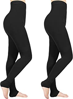 Emooqi Leggings Largas de Invierno para Mujer, Pack de 2 Leggings Cintura Alta, Leggings Térmicos Calientes con Forro Pola...