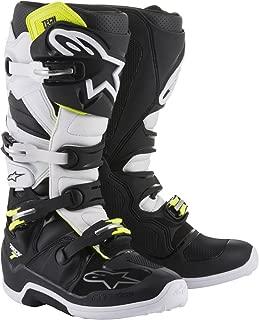 Alpinestars Tech 7 Motocross Off-Road Motorcycle Boots, Black/White, Men's Size 8