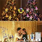 VIMOV Cortinas de Luces Navidad, 3Mx3M 300 LED Ritmo Musical USB...