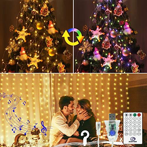 VIMOV Cortinas de Luces Navidad, 3Mx3M 300 LED Ritmo Musical USB Luz Cortina, 11 Modos Luces de Cadena de Cortina Mando a Distancia, IP65 Impermeable Decoración Fiesta, Bodas (Blanco Cálido+Vistoso)