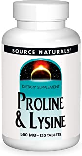Source Naturals L-Proline 275/L-Lysine 275, 120 Tablets