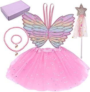 4 Pcs Dress up Clothes for Little Girls Princess dress up Fairy Costume Set with Wings Tutu Wand Necklace and Bracelet for...