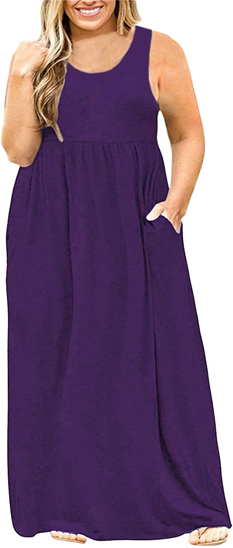 Yskkt Womens Plus Size Tank High quality new Maxi Shirt T Dresses Year-end gift Casu Sleeveless