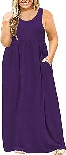 Yskkt Womens Plus Size Sleeveless Maxi Dresses Tank T Shirt Casual Summer Plain Long Dress with Pockets