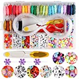 Handcrafted DIY Bracelet Making Beads Kit,Hand-Make Necklaces Letter Beads Colorful,WEEFUN 30 Multi-Color...