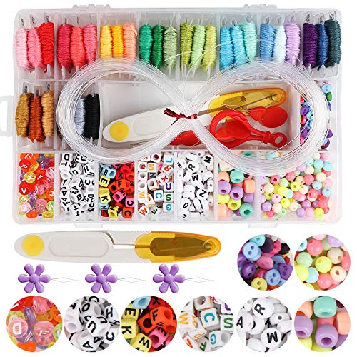 Handcrafted DIY Bracelet Making Beads Kit,Hand-Make Necklaces Letter Beads Colorful,WEEFUN 30 Multi-Color Embroidery Floss'A-Z' Alphabet Beads Bracelets String Kit for Friendship Bracelets