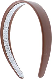 Light Brown 1 Inch Wide Leather Like Headband Solid Hair band for Women and Girls