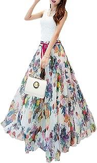 Women Floral Print Pleated Vintage Chiffon Long Maxi Skirt
