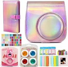 QUEEN3C Aurora Pink Accessories Kit for Fujifilm Instax Mini 9 Instant Camera, with Camera Case + Album + Filters & More Accessories for Fujifilm Mini 9 8 8 Camera. (Bundle, Aurora Pink)