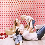 FEPITO 4Pcs Cortinas de Ventana del día de San Valentín Cortinas románticas de Corazones Rojos Cortinas de Encaje para Decoraciones de Bodas del día de San Valentín