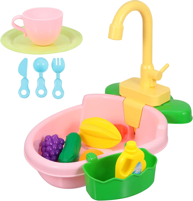TOYANDONA 1 Max 76% OFF Set Play Sink with sale Running Kids Kitchen Water P