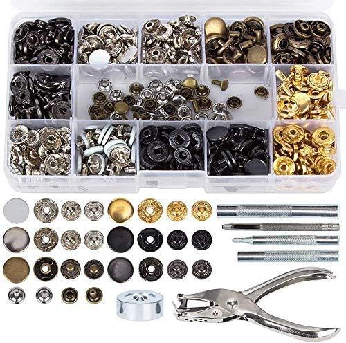 Tolyneil 286 botones de presión Snap de metal con anillo, botones de presión para hombres y mujeres, ropa de costura, color metálico con pinzas