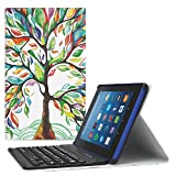 MoKo All-New Fire HD 8 2018 Case - Tastiera Bluetooth Senza fili (Versione Americana) Custodia per Nuovo Amazon Fire HD 8 (8 pollici Display, 8ª & 7ª Gen - modello 2018/2017), Nero