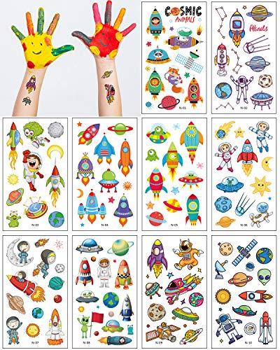 Aoligei 20 Hojas de Tatuajes Temporales NiOs, TemTica Espacio Tatoos Infantiles Impermeable Respetuoso Con La Piel, Tatuajes Regalos De CumpleaOs, Festivales Para Fiestas