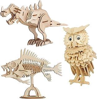 EQLEF Maquetas Madera, Modelos de artesanía de Madera Puzzle DIY Juego de Regalo de Juguete Búho de Madera Dinosaurio Peces Animal Woodcraft Puzzles Kit - 3 Piezas