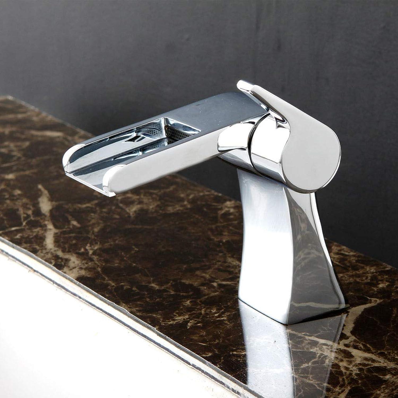 Bad Wasserhahn Einzigen Handgriff Kupfer, Einlochmontage Kaltem und Warmem Wasserfall Mischwasser Waschbecken Wasserhahn Schalter, Langlebig