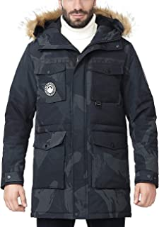 Men's Winter Thicken Insulated Parka Jacket Warm Hooded with Faux Fur Padded Coat