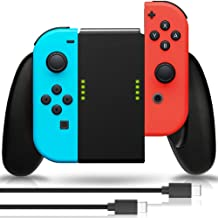 Joy Con Charging Grip, Fosmon 2-in-1 Joy Con Charge Grip Dock [4 Way Multifunction Converter] from Joy-Con Charging Grip to Joy-Con Handle Grip Controller w/Type-C Cable 6ft - Black