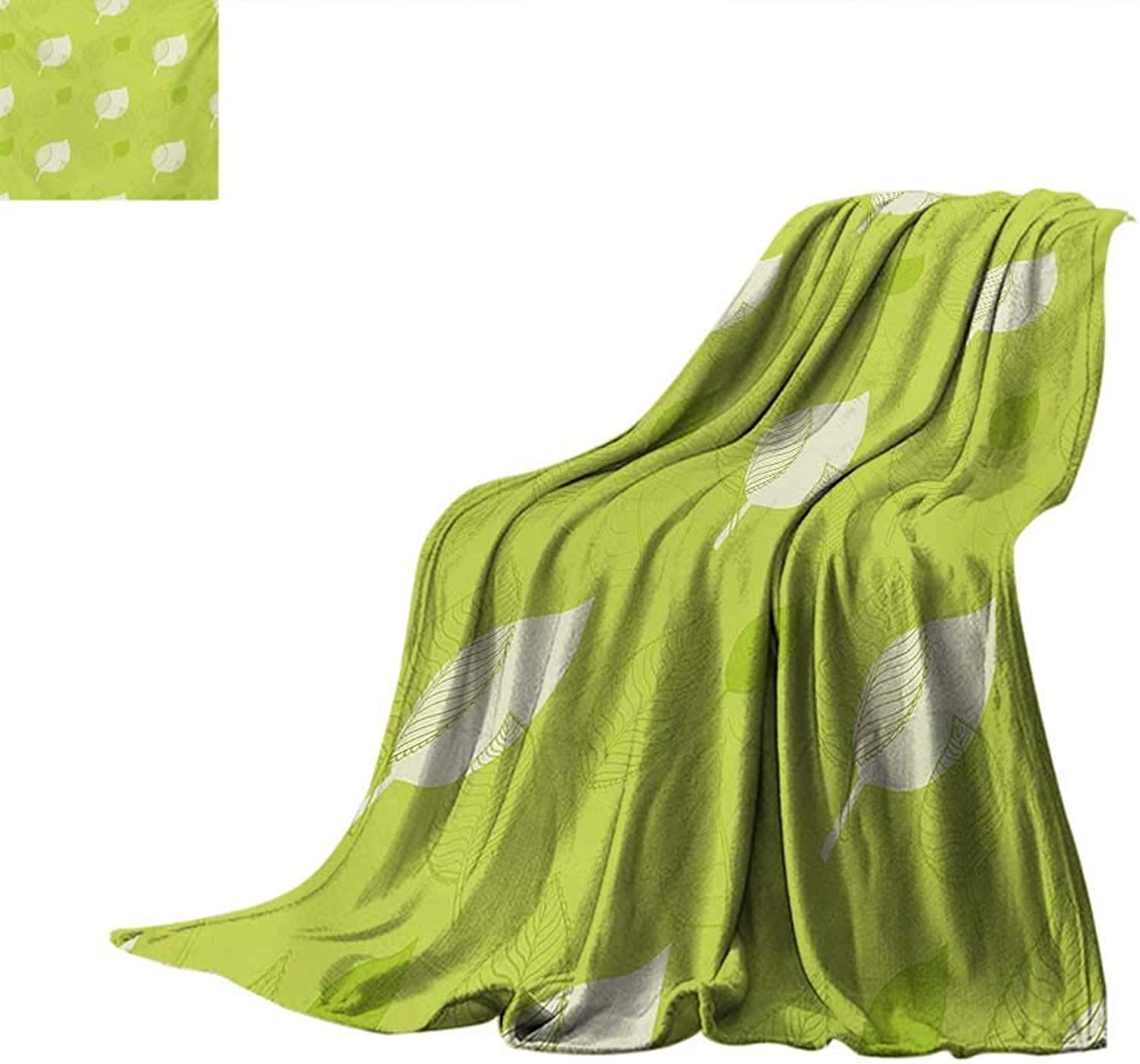 Leafsmall blanketTransparent Retro Autumn Leaves with Classical Old Fashioned Artful Design Artworkthin Blanket 80 x60  Green Cream