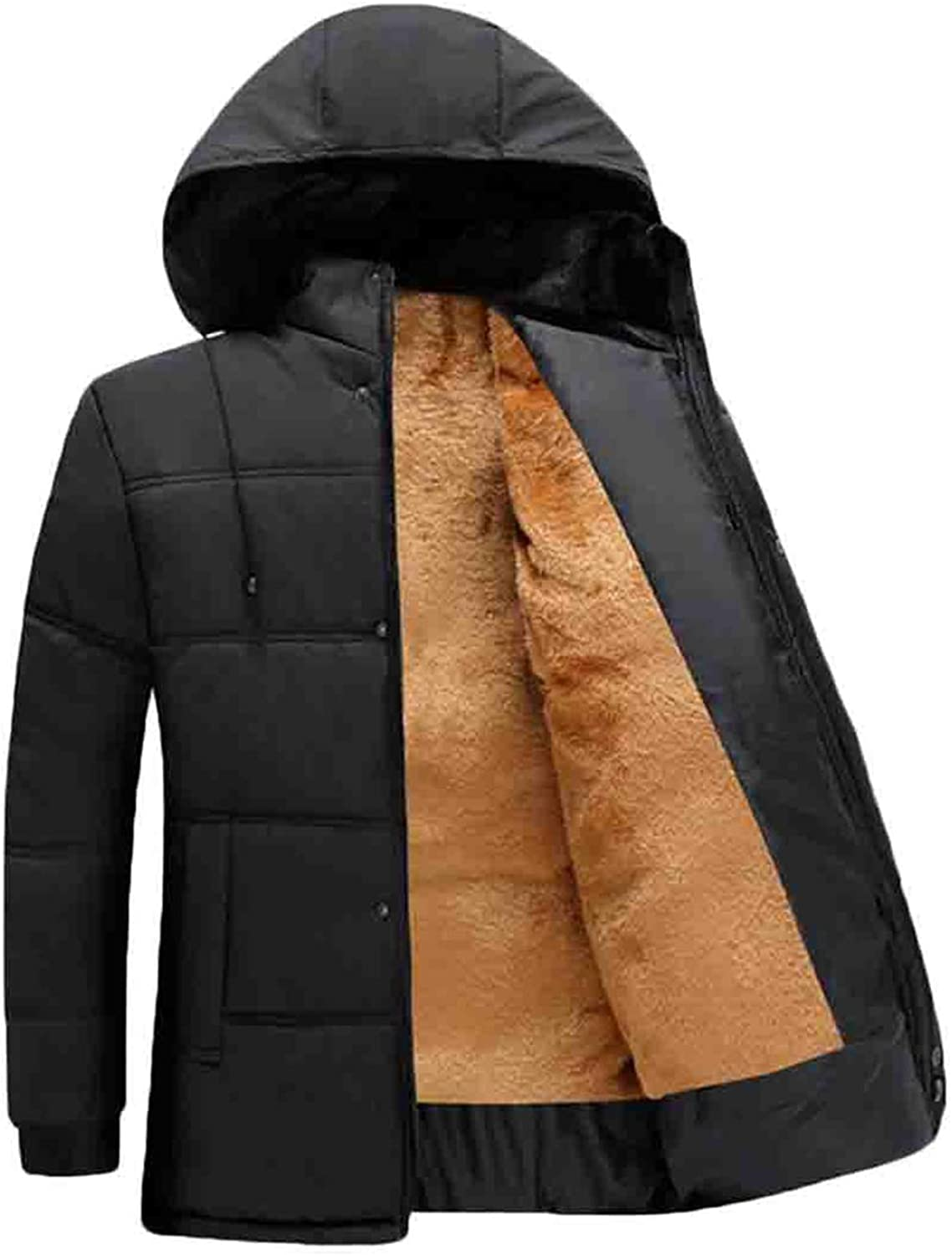 - Frieed Mens Thicken Hooded Winter Casual Warm Letters Letters Letters Print Fleece Lined Outwear Down Puffer Jacket 24161a