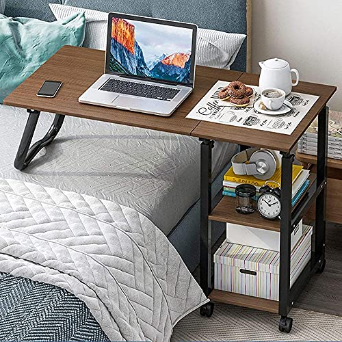 Overbed Table with Lockable Wheels Moveable Height Adjustable TV Tray Sofa Couch Coffee Table Portable Work Writing Study Desk Table with Storage for Bedroom E-E