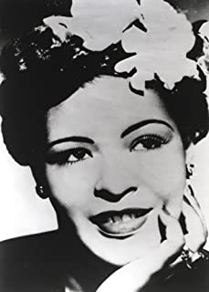 Billie Holiday smiling with Flower on Hair Black and White Portrait Photo Print (8 x 10)