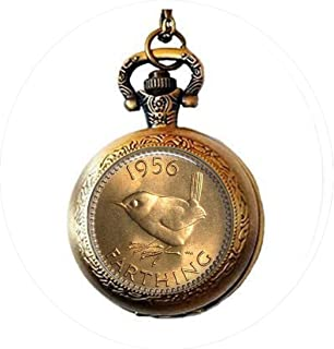 Coin Jewelry UK Farthing Coin Image 1956 Wren Coin Coin Image Keychain Copper Pocket Watch Necklace