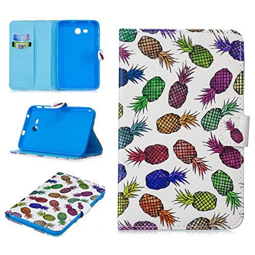 Shinyzone Hülle für Samsung Galaxy Tab 3 Lite 7.0 Zoll SM-T110/T111,Ultra Dünn Leicht PU Leder Tasche mit Kartenfächer,Magnetverschluss Klapphülle Ständer Schutzhülle,Ananas