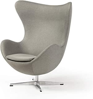 Arne Jacobsen Inspired Egg Swivel Tilt Occasional Lounge Chair - Grey
