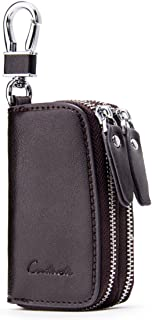 Contacts Genuine Leather Double Zipper Car Key Case Holder Wallet Key Bag