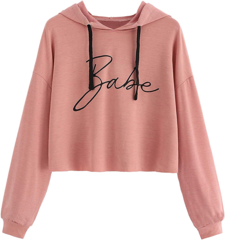 SweatyRocks Women's Casual Long Sleeve Crop Top Sweatshirt Drawstring Hoodies Pullover