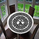Chickwin Mantel Antimanchas Redondo, Mantel de Mesa Impermeable Diseño de Borde Elástico, Estampado Tótem Blanco y Negro Mantel Redondo para Comedor, Cocina y Picnic (Arbol Vida,90cm)