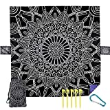 Outdoor Beach Blanket Picnic Mat - Waterproof Sandproof Lightweight Compact Pocket XL Large Handy Folding for Travel,Camping,Hiking Black White Mandala African Boho Bohemian Tribal Lotus Concentric