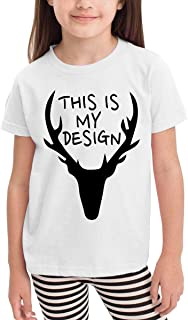 Children's T-Shirt This is My Design A Deer Kids Boys and Girls Short-Sleeved Shirt