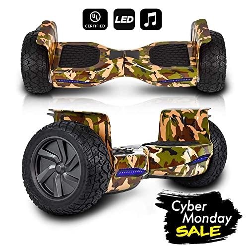 CHO All Terrain Black Rugged 8.5 Inch Wheels Hoverboard Off-Road Smart Self Balancing Electric