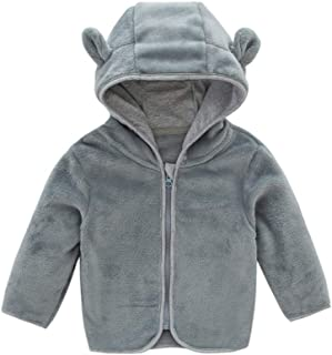 Xifamniy Infant Babies Double Side Flannel Coat Solid Color Cute Ear Shape Hooded Jacket