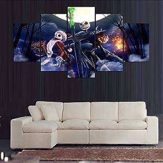 zxfcczxf (sin Marco) Lienzo Pintura Cuadros Decoración del Hogar 5 Panel Escena de Halloween Wall Art Pictures Pintura para la Sala de Estar Imprime Marcos