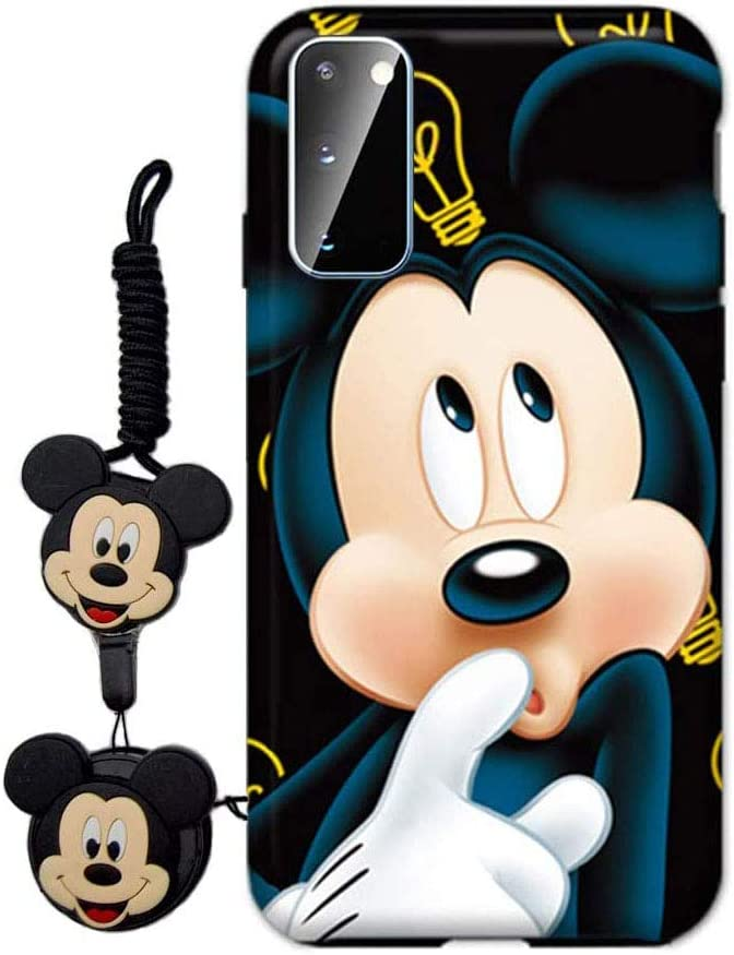 MME Cartoon Case for Galaxy S8 - Mickey Minnie Mouse Case Cute 3D Character Case Soft TPU with Phone Stand Holder and Neck Strap Lanyard for Girls (Blue,S8)